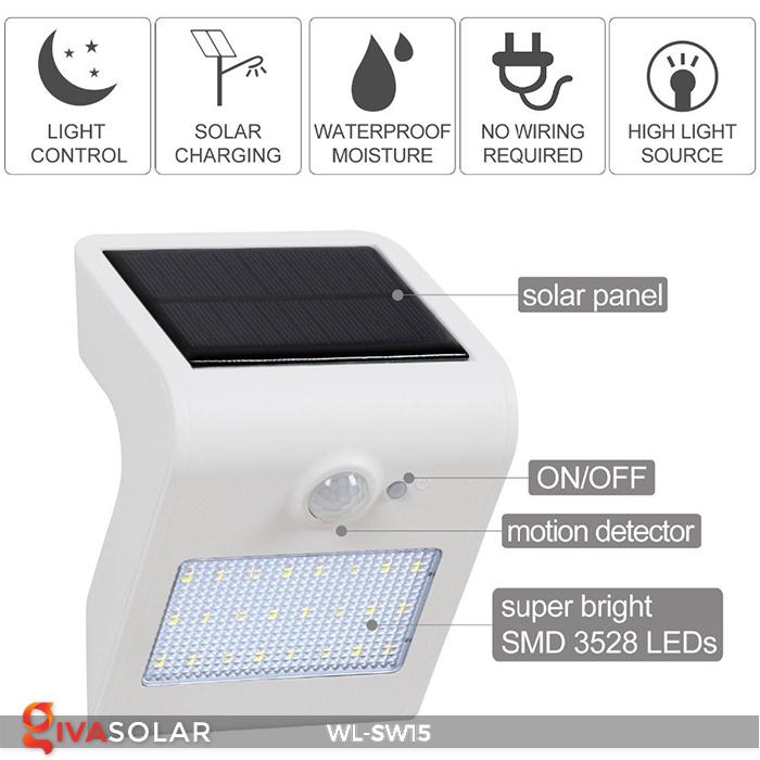 Đèn gắn tường sử dụng năng lượng mặt trời WL-SW15 17