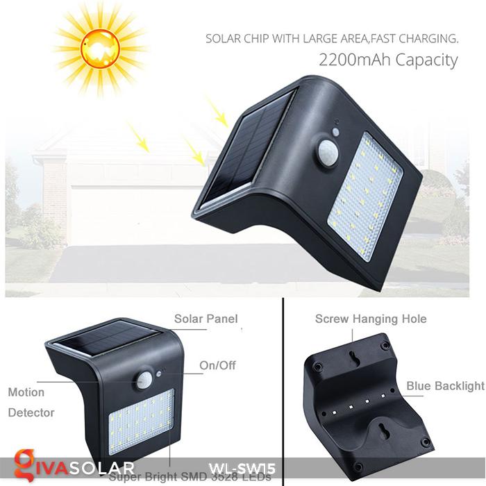 Đèn gắn tường sử dụng năng lượng mặt trời WL-SW15 19