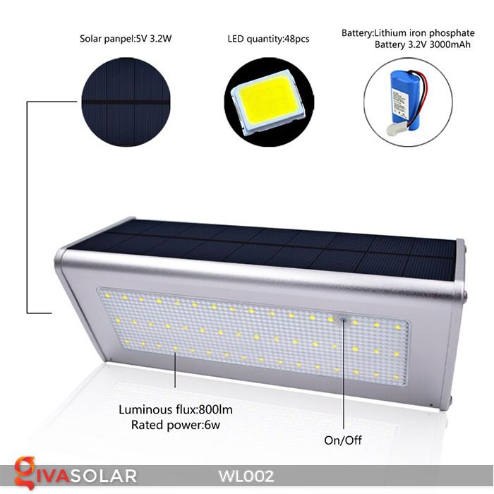 Đèn Led ốp tường năng lượng mặt trời WL002 1