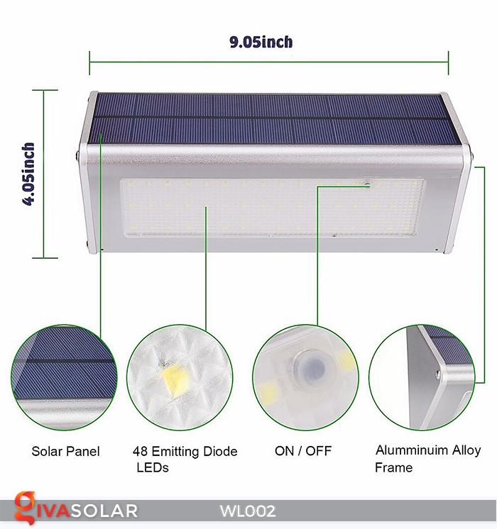 Đèn Led ốp tường năng lượng mặt trời WL002 2