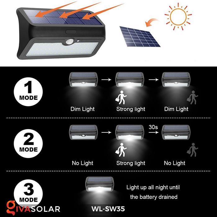 Đèn LED treo tường năng lượng mặt trời WL-SW35 22