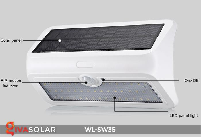 Đèn LED treo tường năng lượng mặt trời WL-SW35 25
