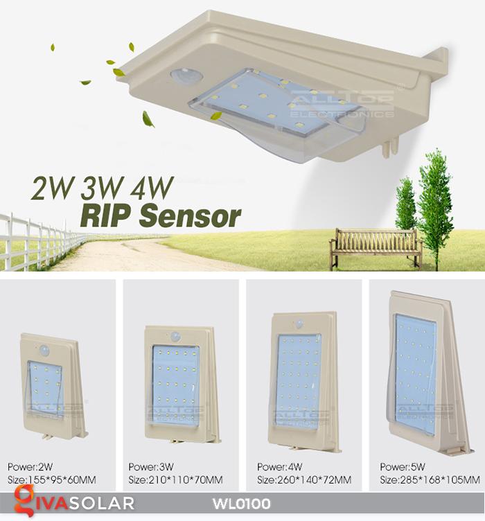 Đèn LED treo tường năng lượng mặt trời WL0100 1