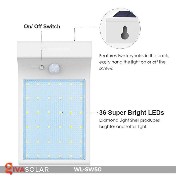 Đèn năng lượng mặt trời treo tường WL-SW50 10