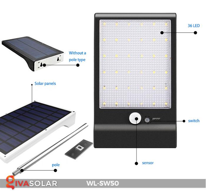 Đèn năng lượng mặt trời treo tường WL-SW50 22