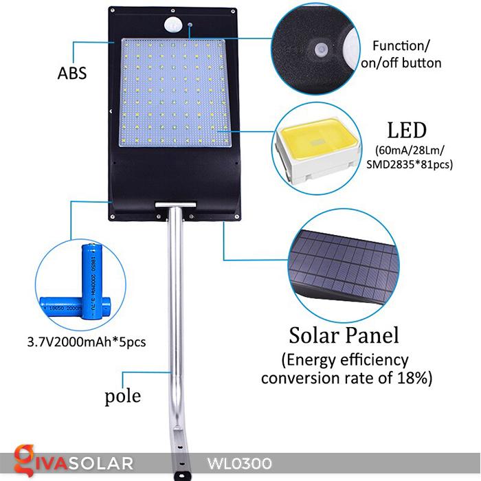 Đèn tường chạy năng lượng mặt trời WL0300 2