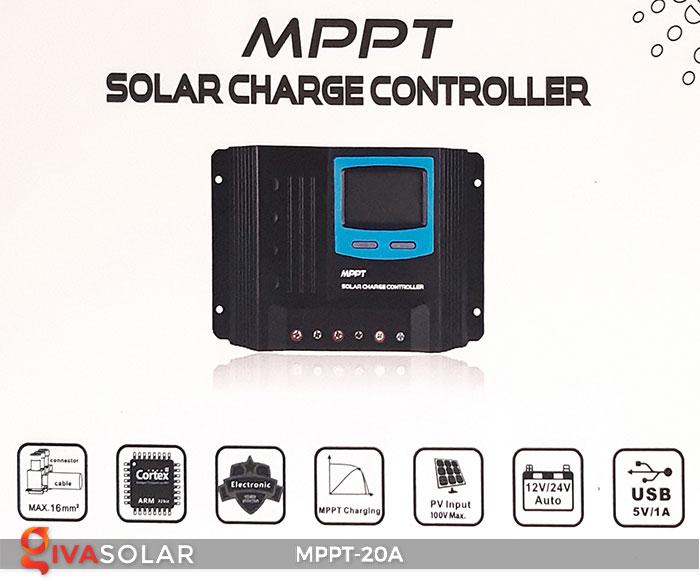Bộ điền khiển sạc năng lượng mặt trời MPPT 20A 1