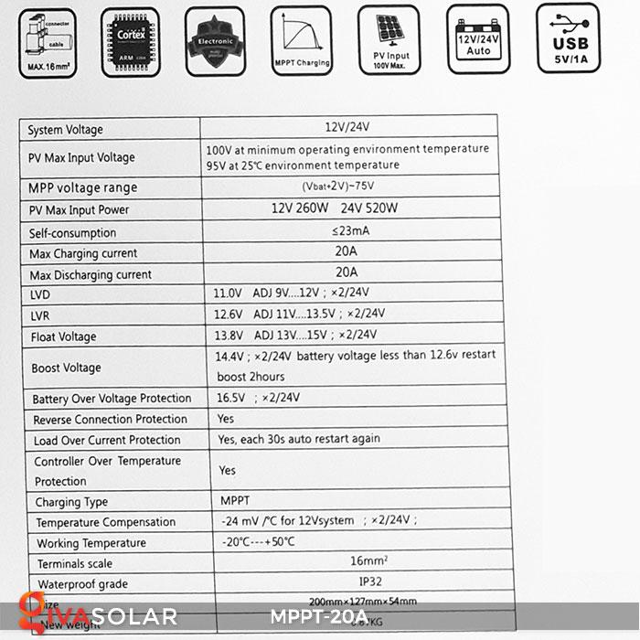 Bộ điền khiển sạc năng lượng mặt trời MPPT 20A 8