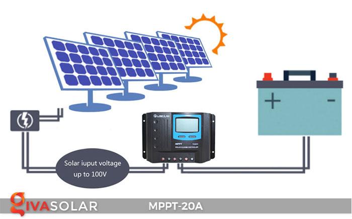 Bộ điền khiển sạc năng lượng mặt trời MPPT 20A 9