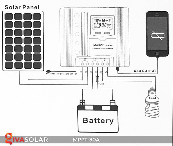 Bộ điều khiển sạc điện mặt trời MPPT-30A 8