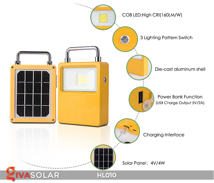 Đèn cầm tay mini năng lượng mặt trời HL010 6