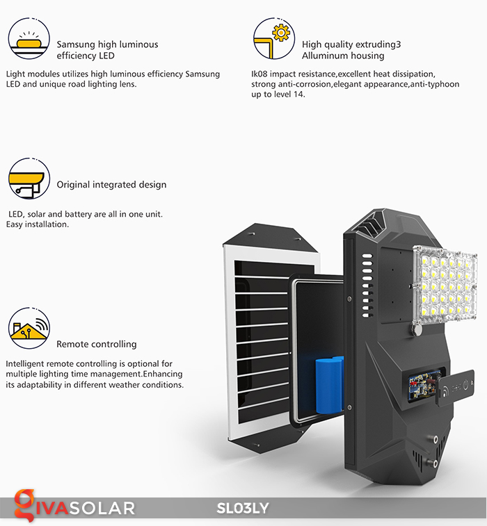 Đèn đường năng lượng mặt trời thông minh SL03LY 15