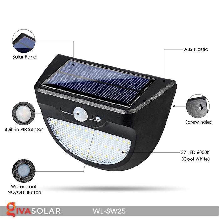 Đèn treo tường năng lượng mặt trời WL-SW25 6