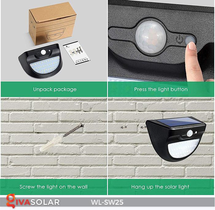 Đèn treo tường năng lượng mặt trời WL-SW25 9