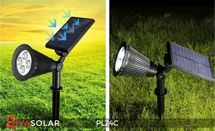 Đèn chiếu tiểu cảnh năng lượng mặt trời PL24C đổi màu 1