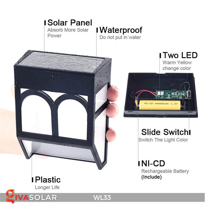 Đèn ốp tường chạy năng lượng mặt trời WL33 3