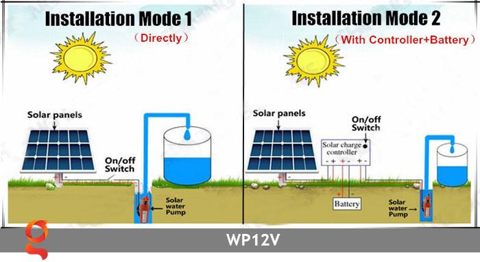 Máy bơm nước chạy năng lượng mặt trời WP12V 14