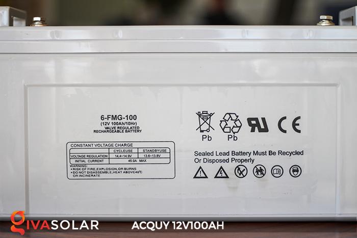 Acquy sử dụng trong công nghệ năng lượng mặt trời 12V100AH 5