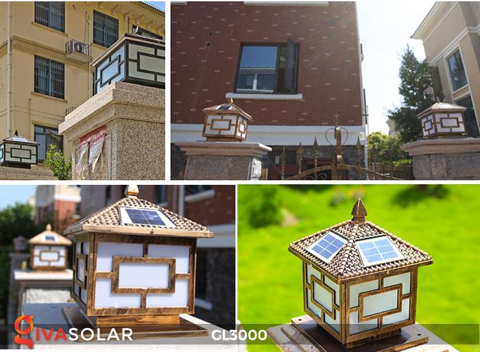 Đèn trụ cổng chạy điện mặt trời cao cấp GL3000 10