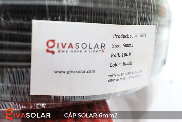 Linh kiện lắp đặt pin năng lượng mặt trời: Dây cáp điện DC 6mm2 7