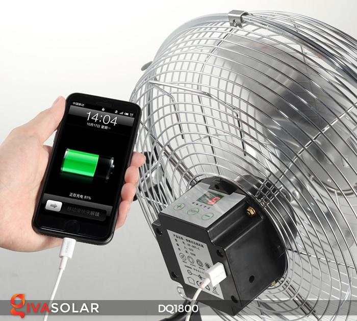 Quạt năng lượng mặt trời tiện lợi DQ1800 7