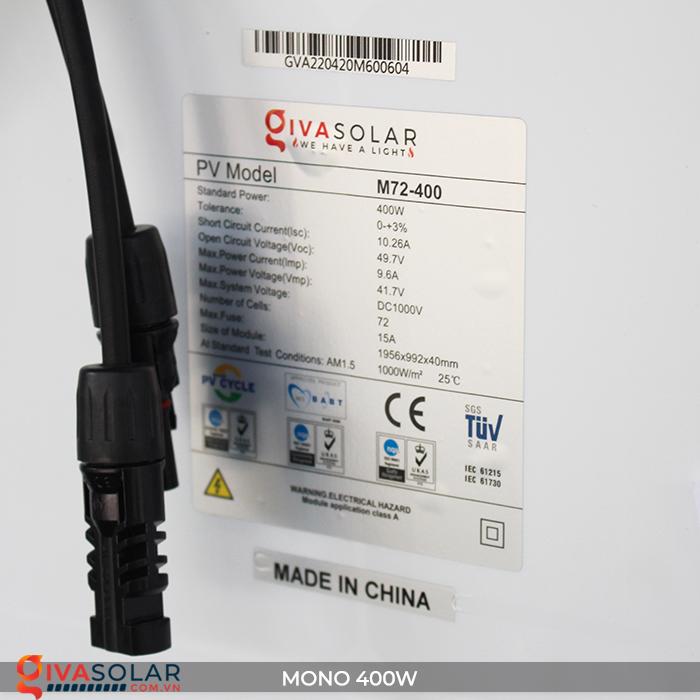 Tấm pin năng lượng mặt trời MONO 400W 8