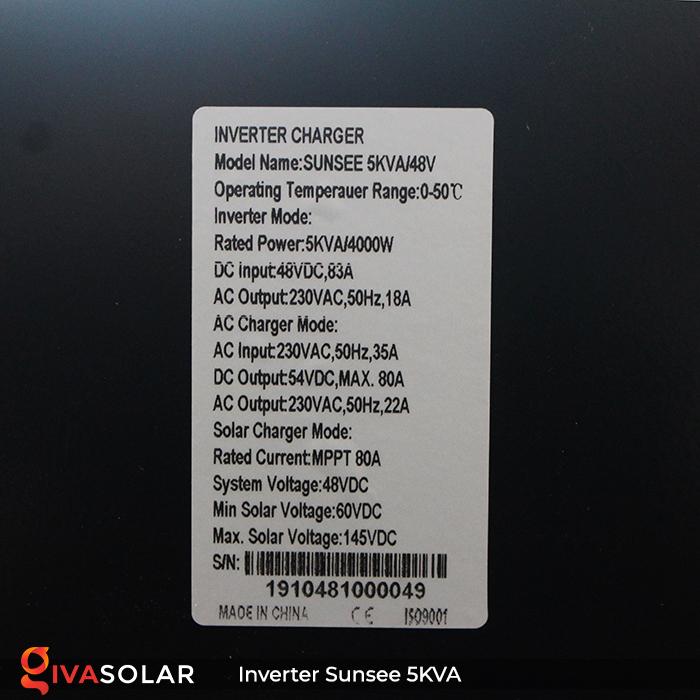 Inverter năng lượng mặt trời đa năng SUNSEE 5KVA 14
