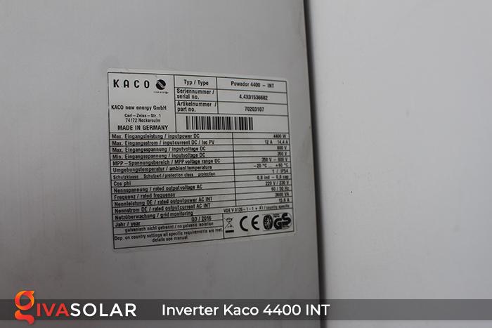 Biến tần chuỗi cho hệ thống điện mặt trời KACO 4400 INT 8