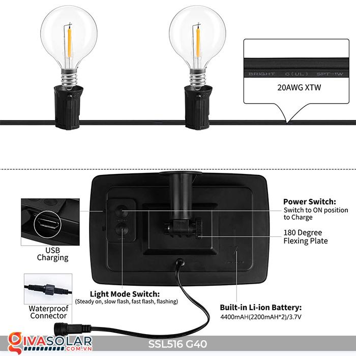 Dây đèn bóng led chạy bằng năng lượng mặt trời SSL516 10
