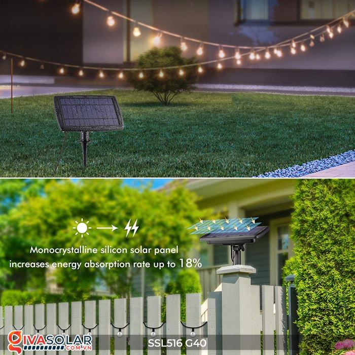 Dây đèn bóng led chạy bằng năng lượng mặt trời SSL516 14