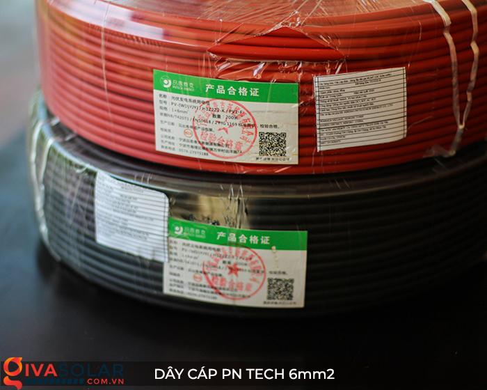 Linh kiện lắp đặt pin mặt trời: Dây cáp điện DC PN Tech 6mm2 8