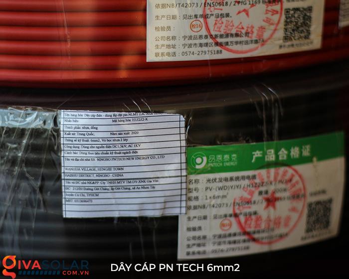 Linh kiện lắp đặt pin mặt trời: Dây cáp điện DC PN Tech 6mm2 9