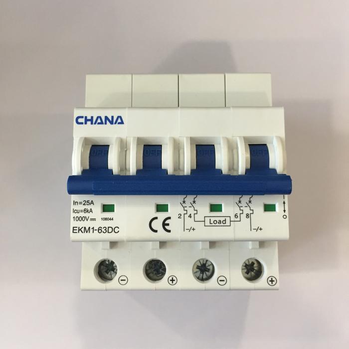 Aptomat DC cho hệ thống điện mặt trời CHANA 6KA-4P-25A-1000VDC