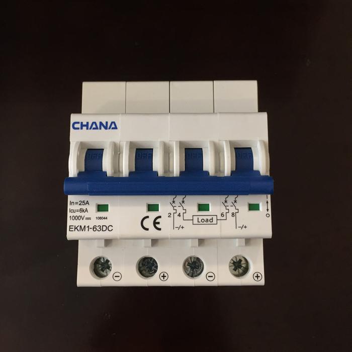 Aptomat DC cho hệ thống điện mặt trời CHANA 6KA-4P-25A-1000VDC 1