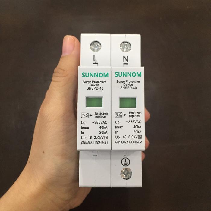 Chống sét AC lắp điện mặt trời SNSPD 2P 20-40KA 385VAC 1