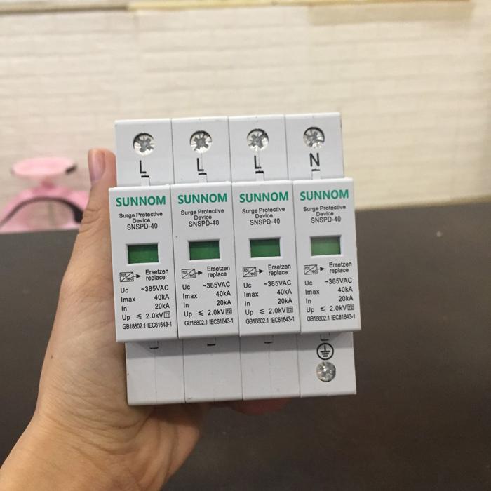 Chống sét AC lắp điện mặt trời SNSPD 4P 20-40KA 385VAC 1