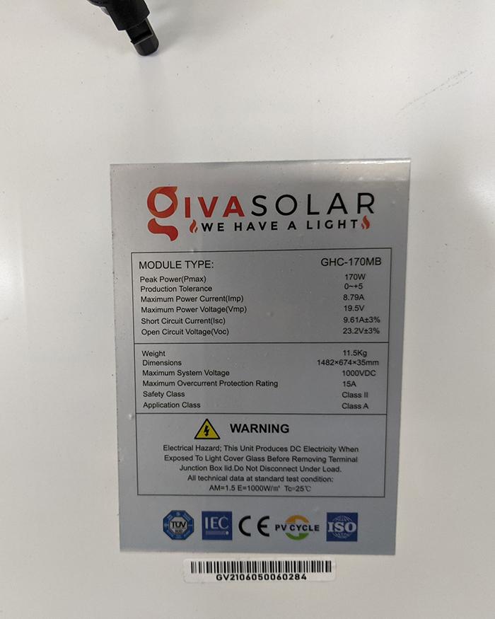 Tấm pin năng lượng mặt trời công suất 170W 20